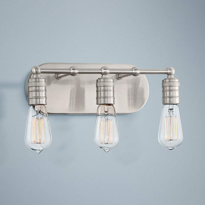 "Muse Collection 14 1/4""W Brushed Nickel 3-Light Bath Light"