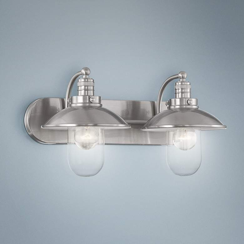 Downtown Edison 18 1 2 Wide Brushed Nickel Bathroom Light