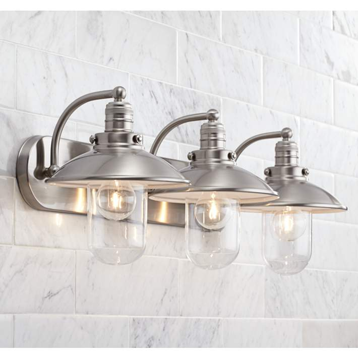 Downtown Edison 28 1 2 Wide Brushed Nickel Bath Light 2y639 Lamps Plus