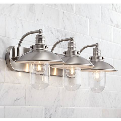 "Downtown Edison 28 1/2"" Wide Brushed Nickel Bath Light"