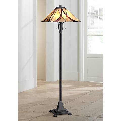 Quoizel Asheville Valiant Bronze Tiffany Style Floor Lamp