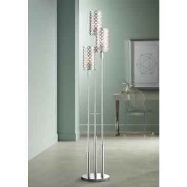 Possini Euro 3-Tier Glitz Crystal and Chrome Floor Lamp