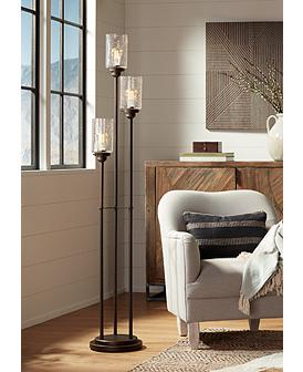 Libby Oiled Bronze 3 Light Seeded Glass Floor Lamp