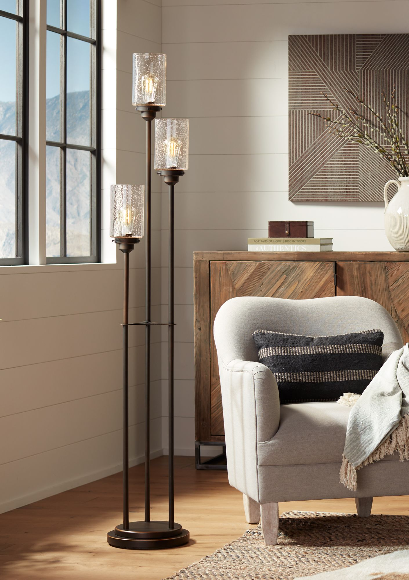 High Quality Libby Oiled Bronze 3 Light Seeded Glass Floor Lamp