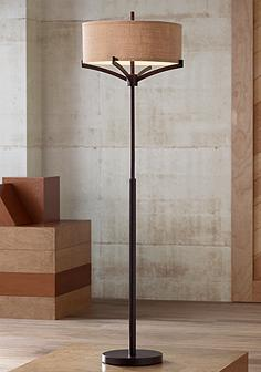 Rustic lodge floor lamps lamps plus franklin iron works tremont floor lamp with burlap shade mozeypictures