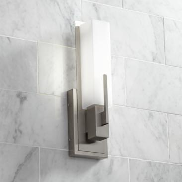 "Possini Euro Midtown 15"" High Satin Nickel LED Wall Sconce"