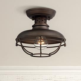 Franklin Park 8 1 2 Wide Bronze Caged Outdoor Ceiling Light
