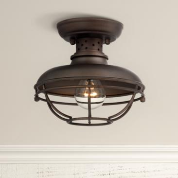 "Franklin Park 8 1/2"" Wide Bronze Caged Outdoor Ceiling Light"