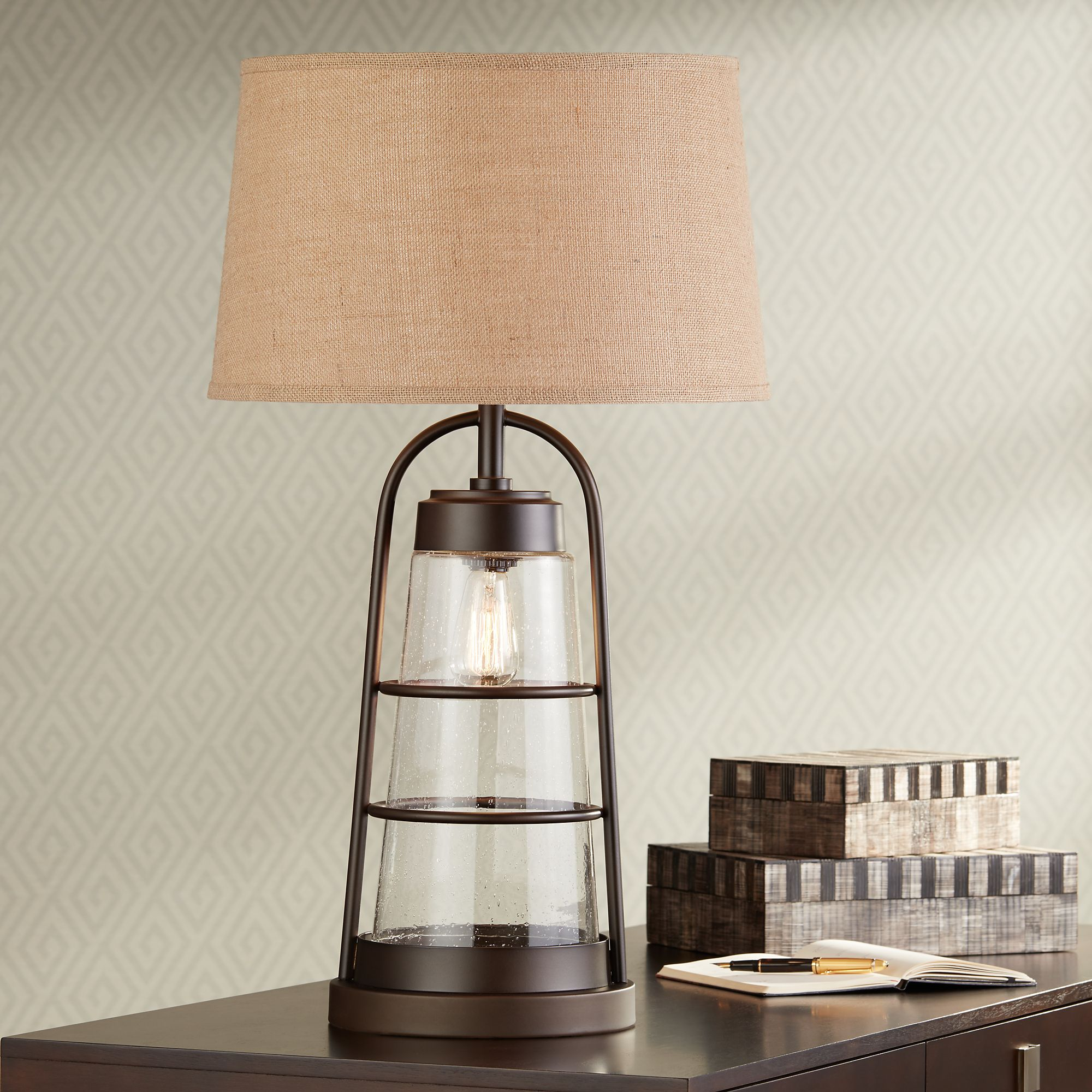 Beau Industrial Lantern Table Lamp With Night Light