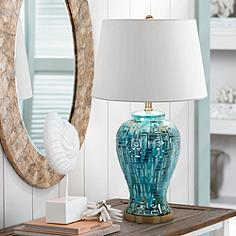 Asian table lamps lamps plus teal temple jar 27 high ceramic table lamp mozeypictures Choice Image