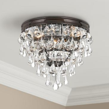 "Crystorama Calypso Bronze 10"" Wide Clear Glass Ceiling Light"