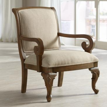 Diana Distressed Wood and Beige Upholstered Accent Chair