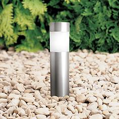 Bollard Set Of 4 Stainless Steel Solar Led Landscape Lights