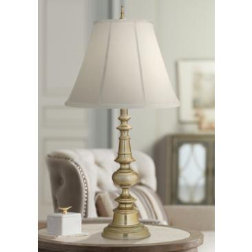 Stiffel Turned Column Milano Silver Table Lamp
