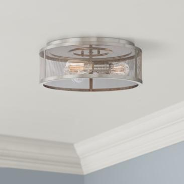 "Muse Collection 15"" Wide Brushed Silver Ceiling Light"