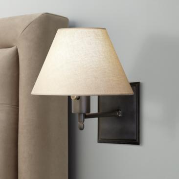Meilleur Collection Bronze Plug-In Swing Arm Wall Lamp