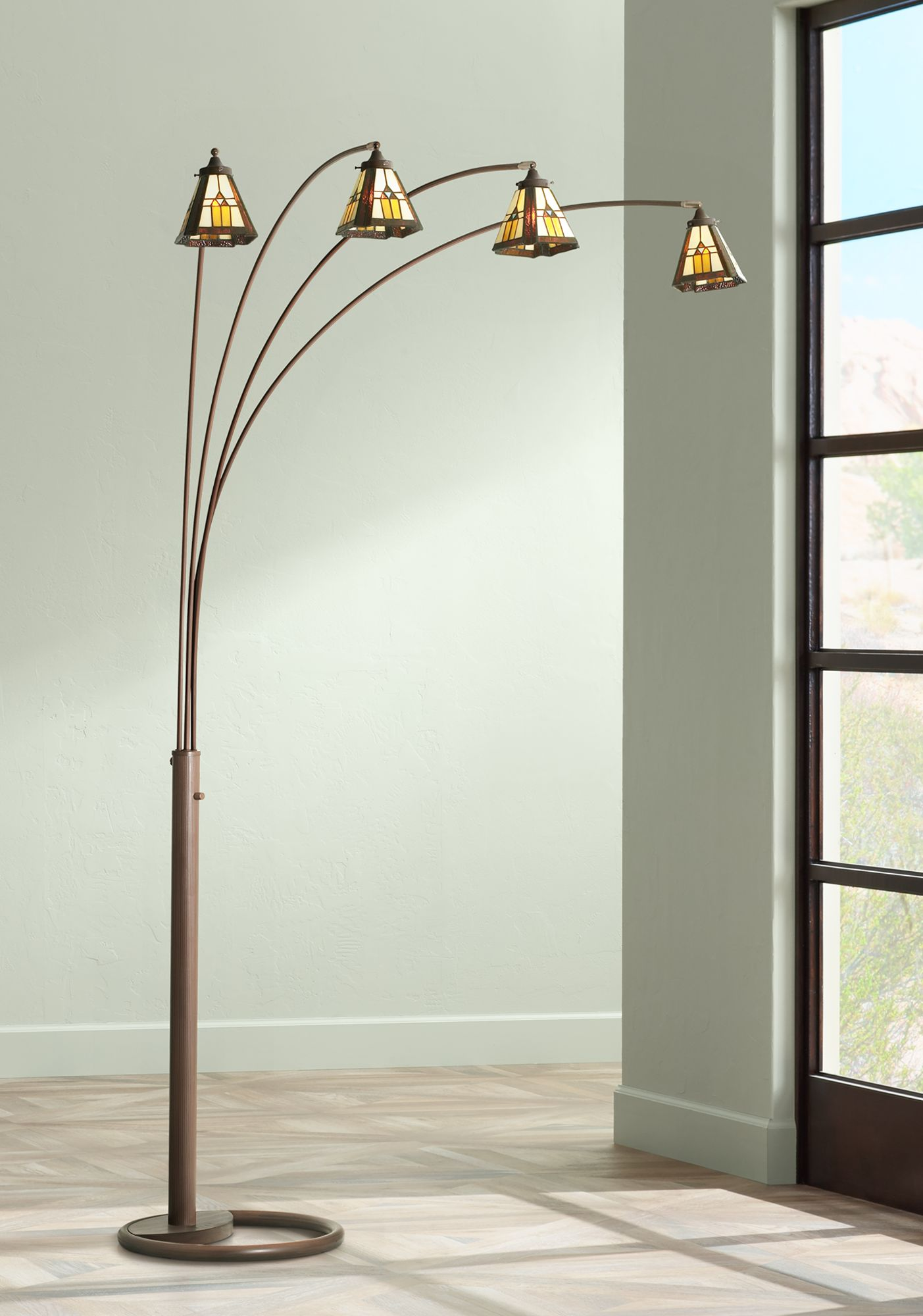 Four Arm Bronze Finish Mission Glass Arc Floor Lamp