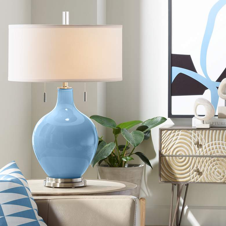 Secure Blue Toby Table Lamp