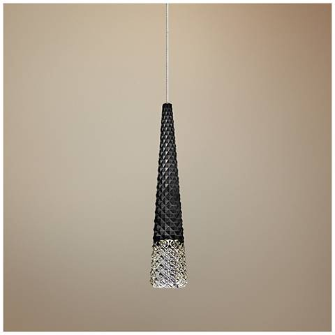 "Facette Black 4""W Satin Nickel Fusion Jack Mini Pendant"