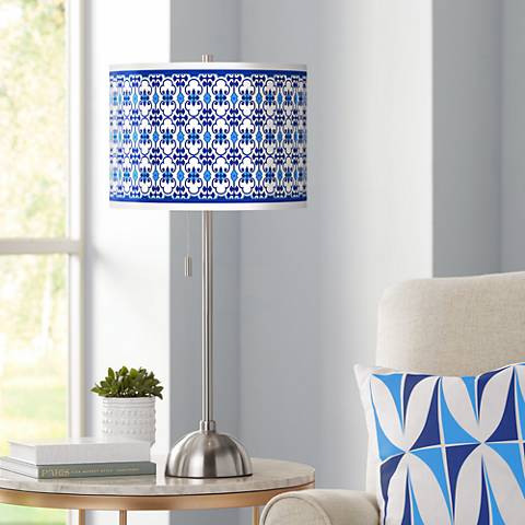 Indigo Path Giclee Brushed Steel Table Lamp