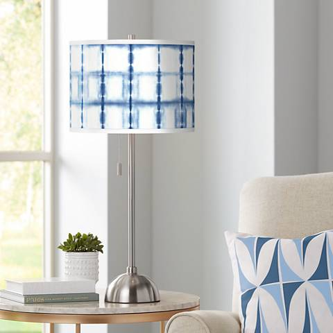 Blue Mist Giclee Brushed Steel Table Lamp