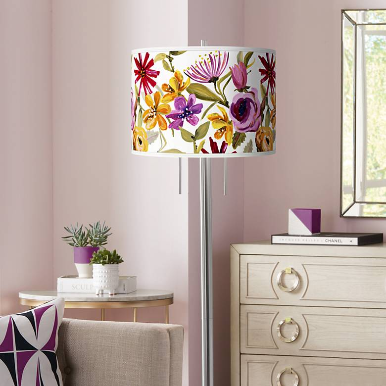 Bountiful Blooms Giclee Brushed Nickel Garth Floor Lamp