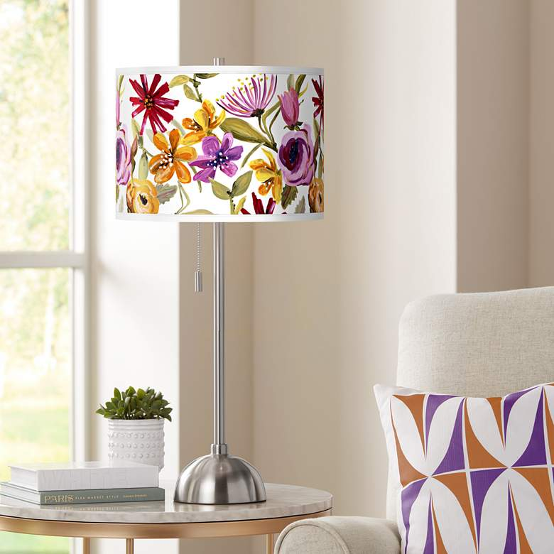 Bountiful Blooms Giclee Brushed Nickel Table Lamp