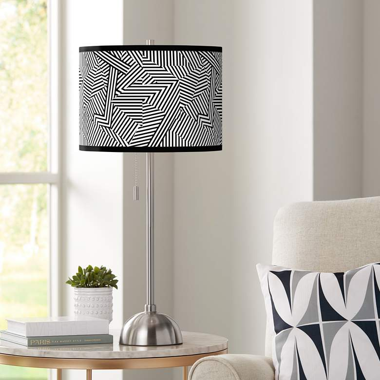 Labyrinth Giclee Brushed Nickel Table Lamp
