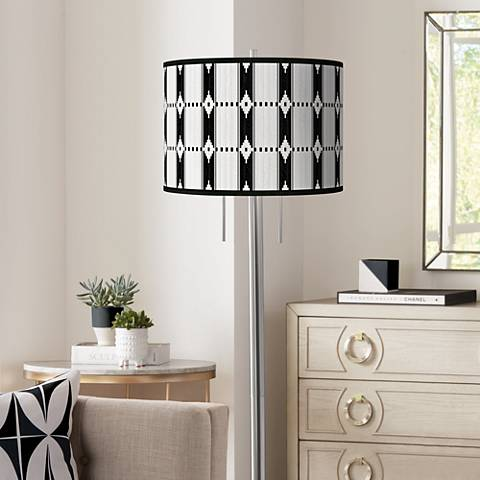 Tribal Weave Giclee Brushed Nickel Garth Floor Lamp