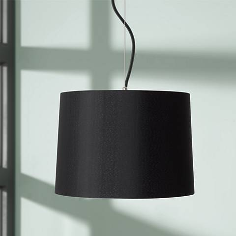 "Black Drum Shade 14"" Wide Pendant Light"
