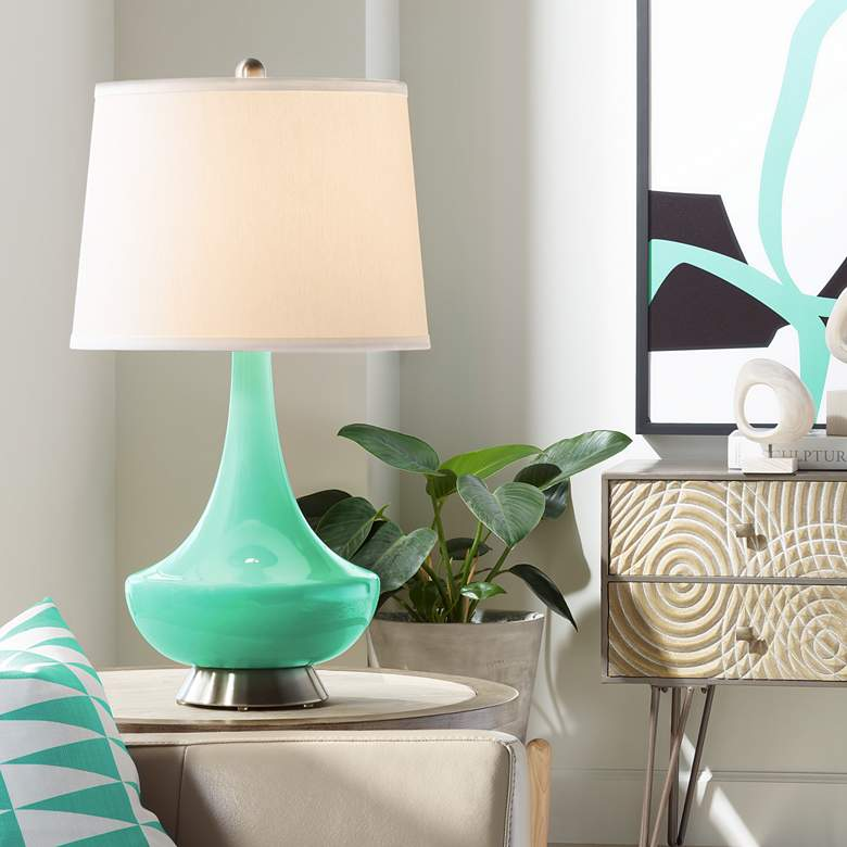 Turquoise Gillan Glass Table Lamp