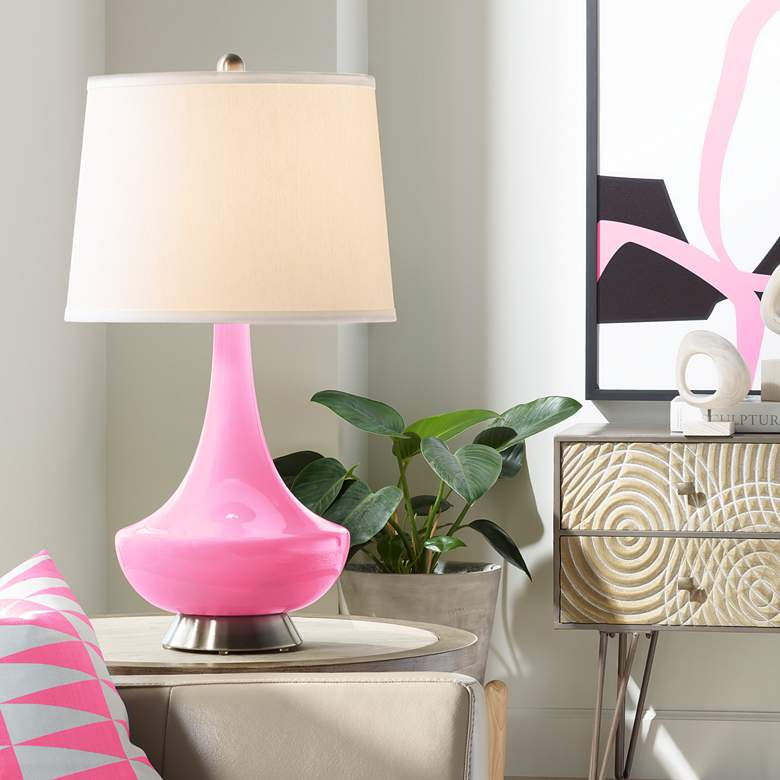 Candy Pink Gillan Glass Table Lamp