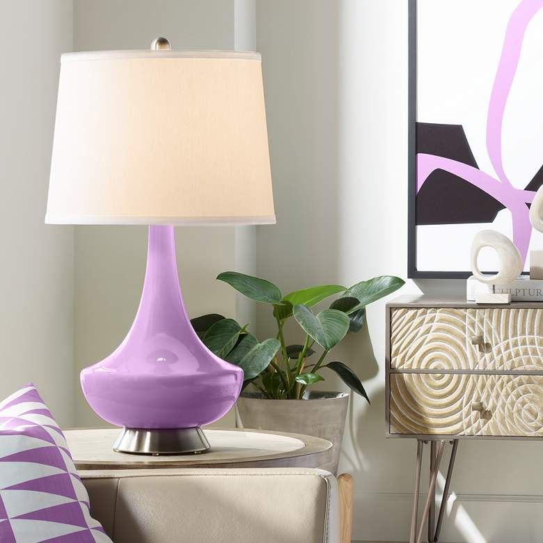 African Violet Gillan Glass Table Lamp