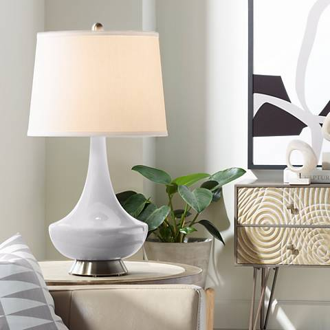 Swanky Gray Gillan Glass Table Lamp