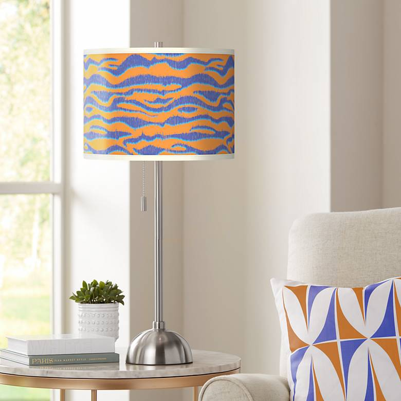 Sunset Stripes Giclee Brushed Nickel Table Lamp
