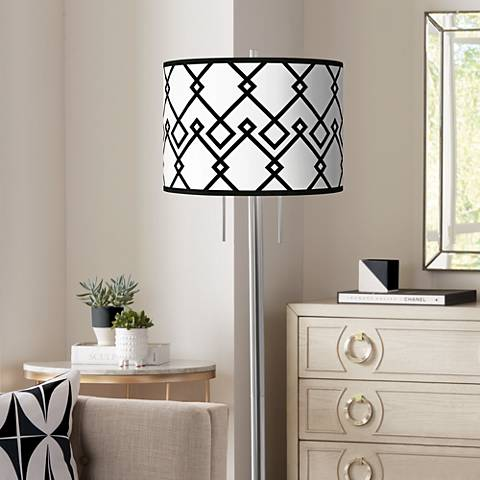 Diamond Chain Giclee Brushed Nickel Garth Floor Lamp