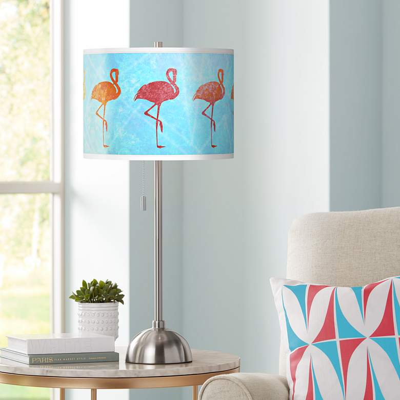 Flamingo Shade Giclee Brushed Nickel Table Lamp