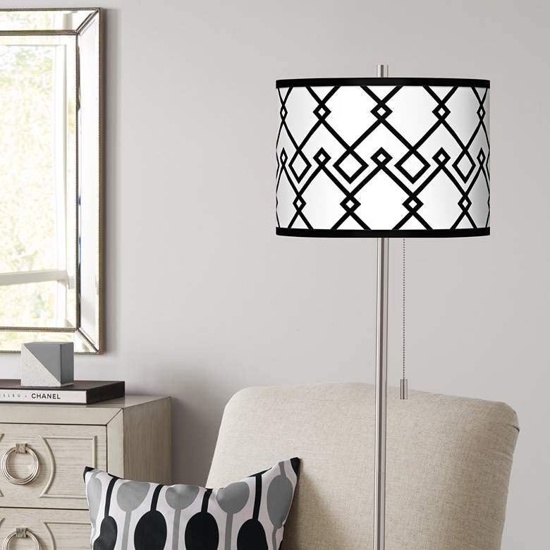 Diamond Chain Brushed Nickel Pull Chain Floor Lamp