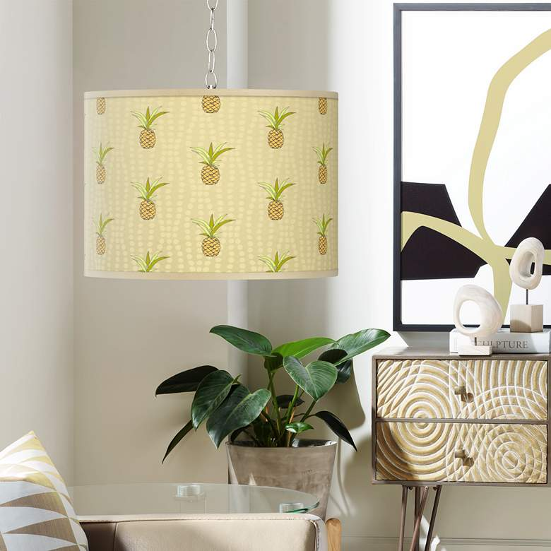 Swag Style Pineapple Delight Giclee Shade Plug-In Chandelier