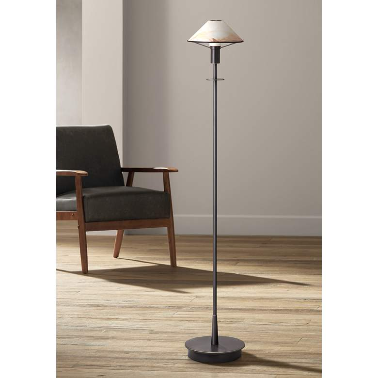 Holtkoetter Old Bronze Alabaster Brown Floor Lamp