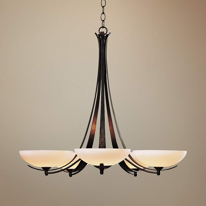 Hubbardton Forge Dark Smoke Five Light Opal Chandelier