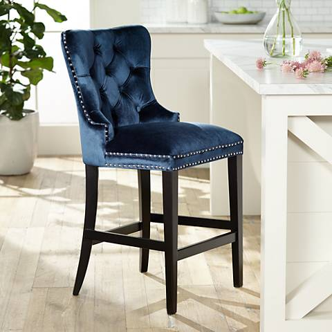 "Euphoria 25"" Blue Velvet Tufted Counter Stool"