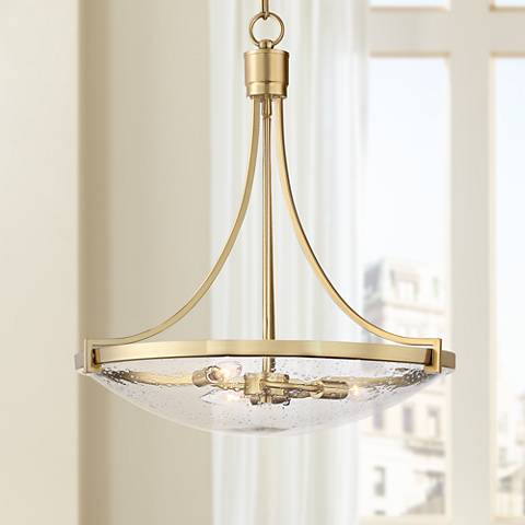 "Norfolk 20 1/2"" Wide Satin Brass 3-Light Bowl Pendant"