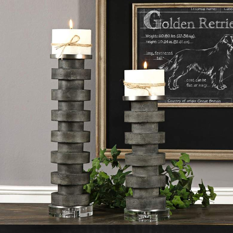 Karun Charcoal Concrete 2-Piece Pillar Candle Holder Set
