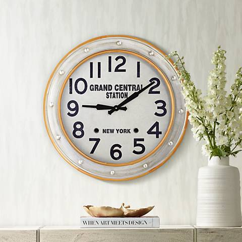 "Orange Rings 24"" Round Modern Metal Wall Clock"
