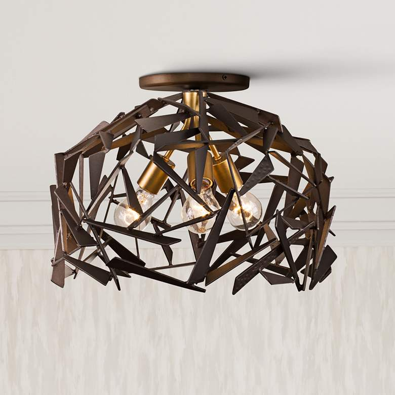 "Bermuda 18""W Antique Gold and Bronze 3-Light Ceiling"