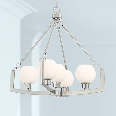 "Soleil 25 1/2 ""Wide Brushed Nickel 5-Light Chandelier"