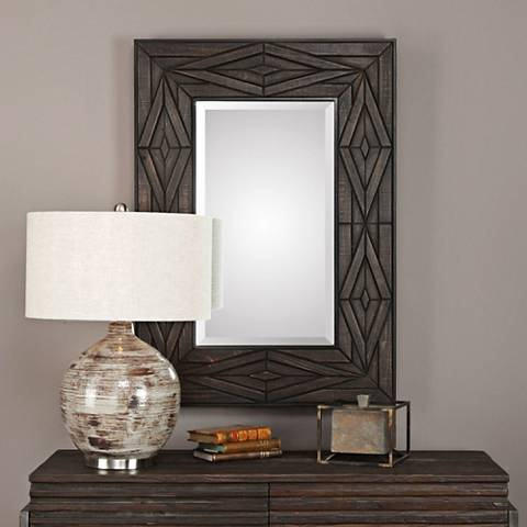 "Bolsena Hand-Rubbed Espresso Wood 29 1/4"" x 41"" Mirror"
