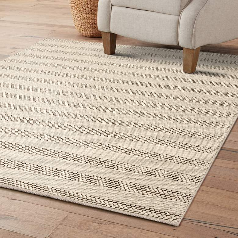 Cortico 6155 5'x7' Winter White Wool Area Rug