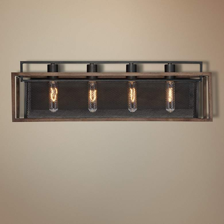 "Varaluz Rio Lobo 27"" Wide Dark Oak and Black 4-Light Bath Light"